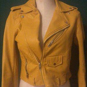 Zara yellow Cropped leather